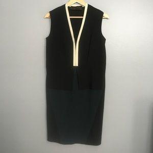 CEDRIC CHARLIER   black cream trim layered dress